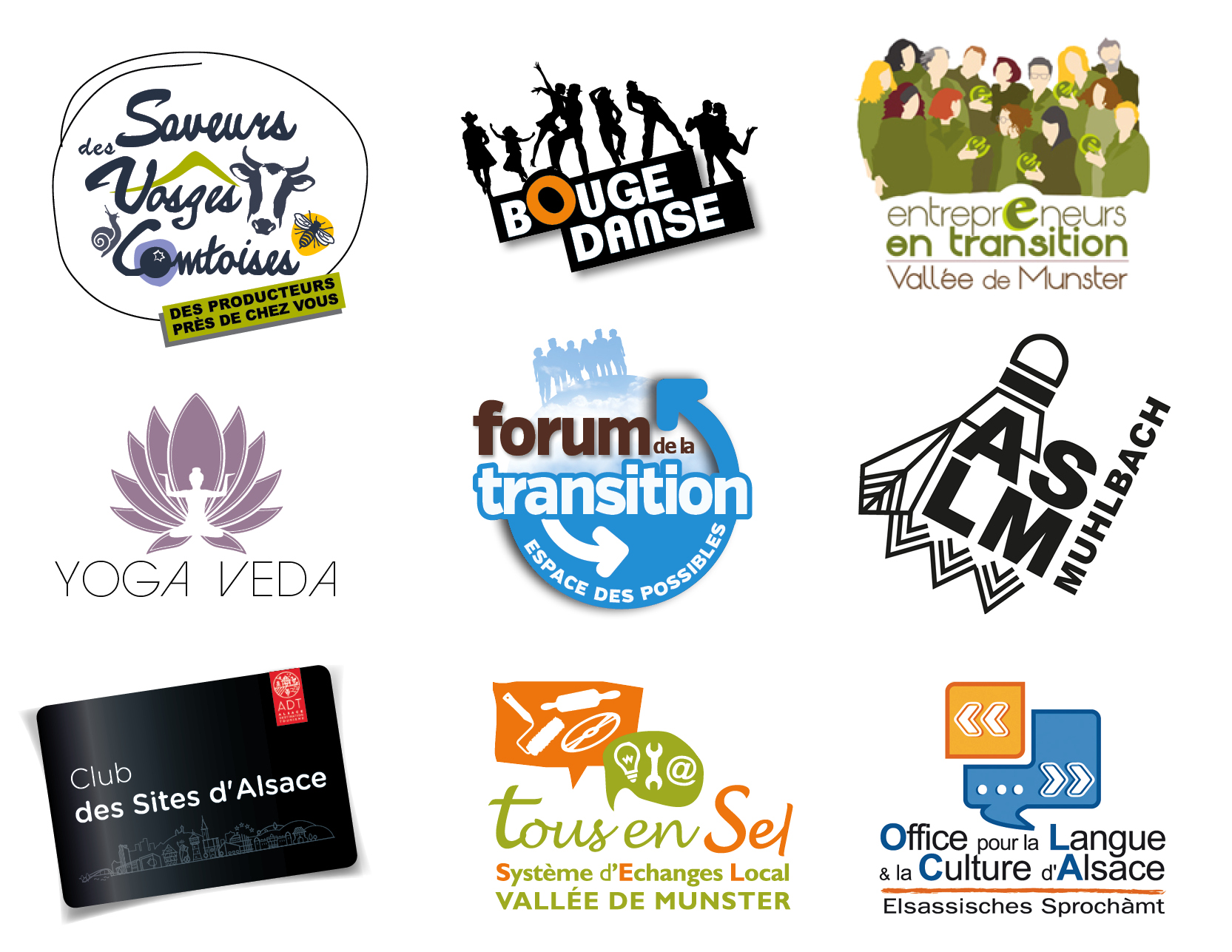 logos associations, réseaux, groupement